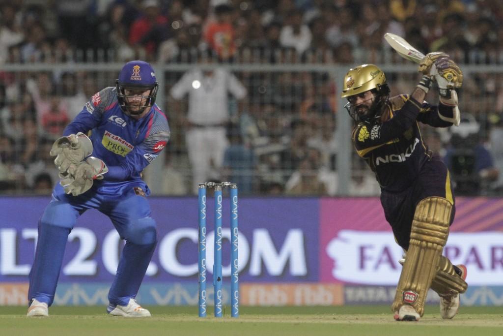 Kolkata Knight Riders' Dinesh Karthik bats during the VIVO IPL cricket T20 match against Rajasthan Royals in Kolkata, India, Wednesday, May 23, 2018.