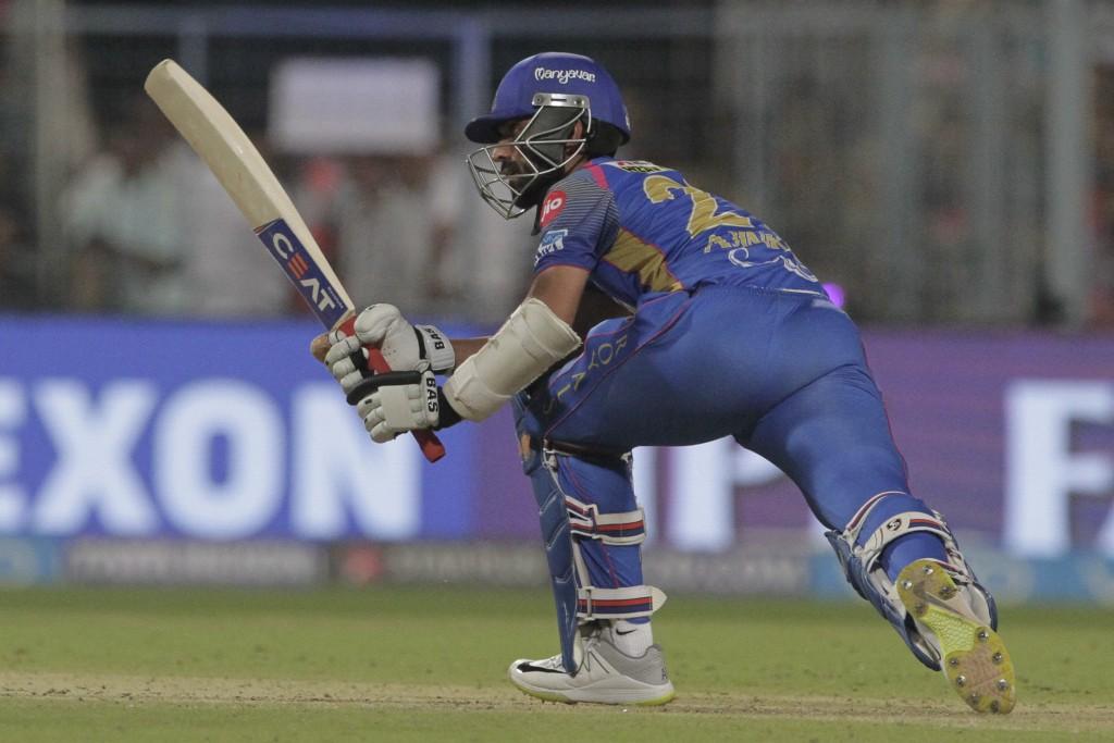 Rajasthan Royals' Ajinkya Rahane bats during the VIVO IPL cricket T20 match against Kolkata Knight Riders in Kolkata, India, Wednesday, May 23, 2018.