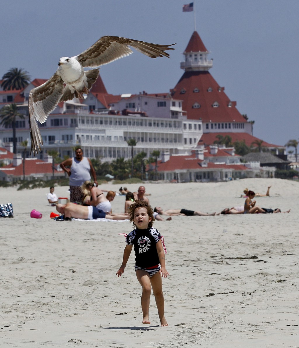 FILE - In this May 22, 2012, file photo, a child chases a sea gull on Coronado Beach in Coronado, Calif. Coronado Beach is No. 9 on the list of best b...