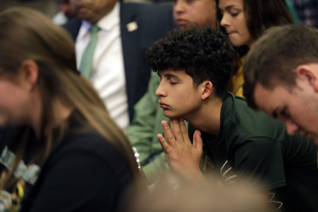 Santa Fe students takes part in a roundtable discussion in Austin, Texas, Thursday, May 24, 2018, hosted by Texas Gov. Gregg Abbott to address safety ...