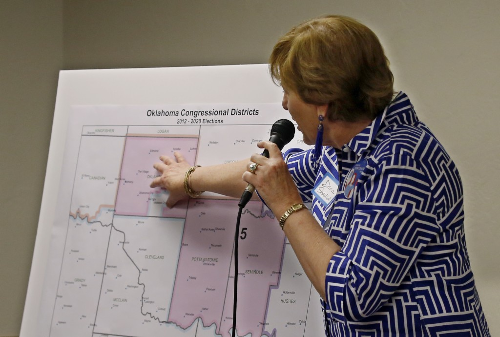 Dana Shadid moderates a forum of Oklahoma 5th congressional district seat Democratic candidates for the group Edmond Democratic Women in Edmond, Okla....
