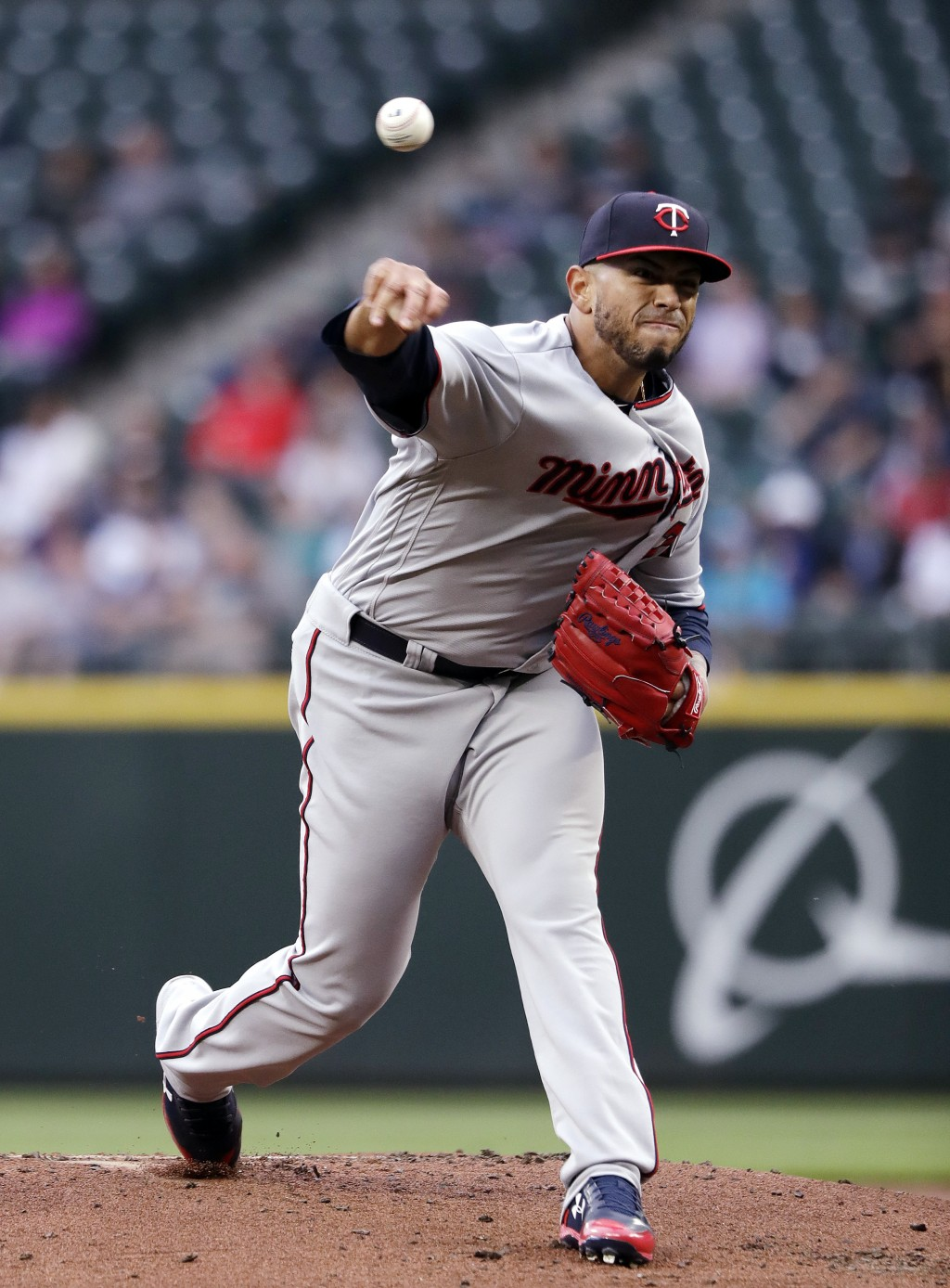 Minnesota Twins starting pitcher Fernando Romero throws to a Seattle Mariners batter during the first inning of a baseball game Friday, May 25, 2018, ...