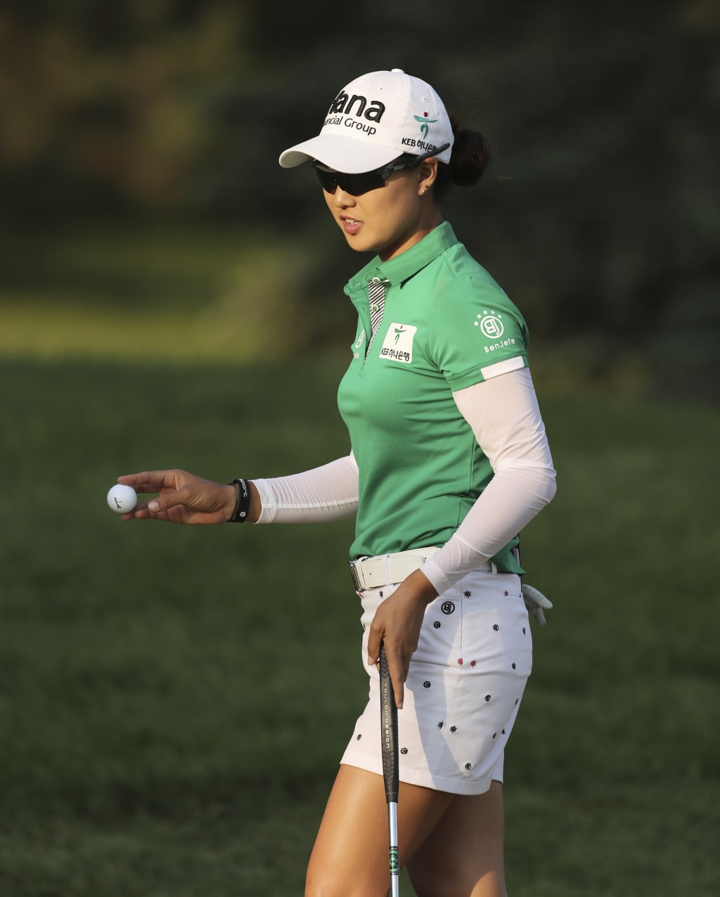 Minjee Lee, of Australia, acknowledges the gallery after her birdie putt on the 15th green during the third round of the LPGA Volvik Championship golf...