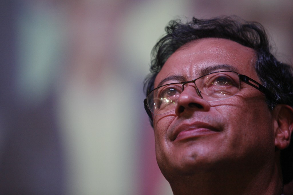 Gustavo Petro, presidential candidate for Colombia Humana, addresses supporters at a theater in Bogota, Colombia, Sunday, May 27, 2018. Petro, a forme...