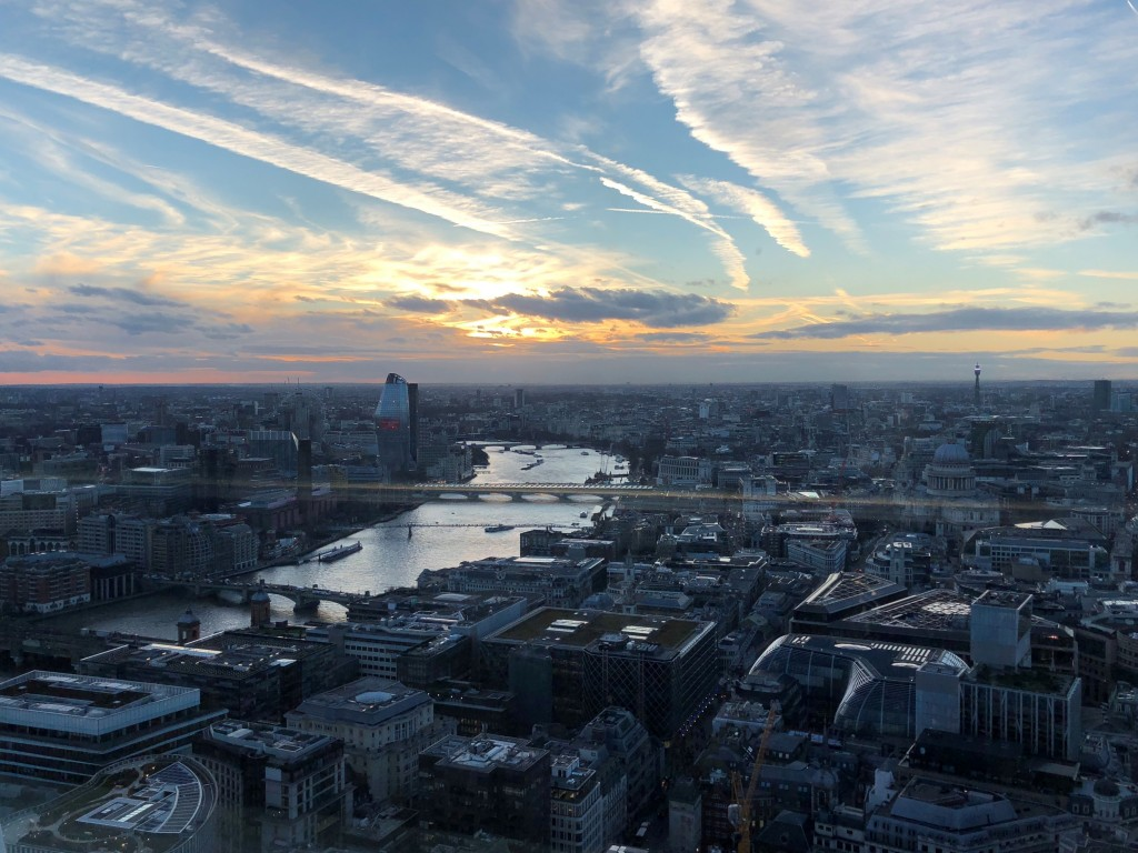 This March 2018 photo shows a view of London as seen from inside Sky Garden atop a 34-story building known as the Walkie Talkie. It's hard to walk in ...