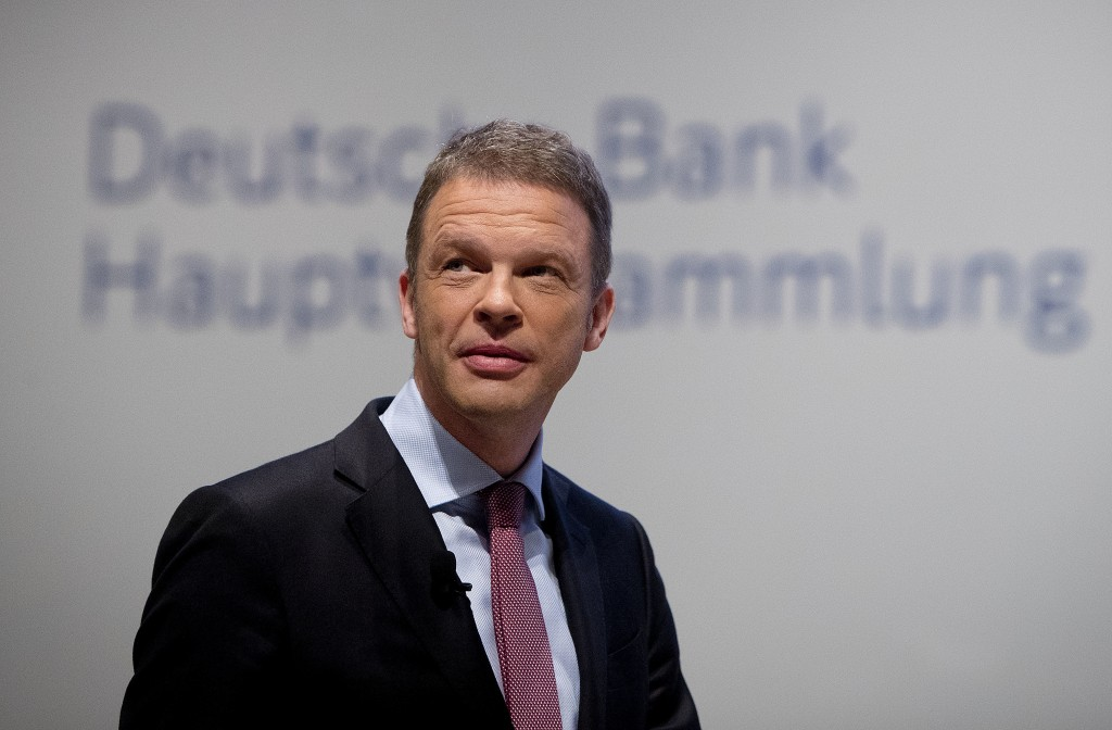 FILE- In this May 24, 2018, file photo, CEO of Deutsche Bank Christian Sewing makes his way to the annual meeting of the bank in Frankfurt, Germany. S...