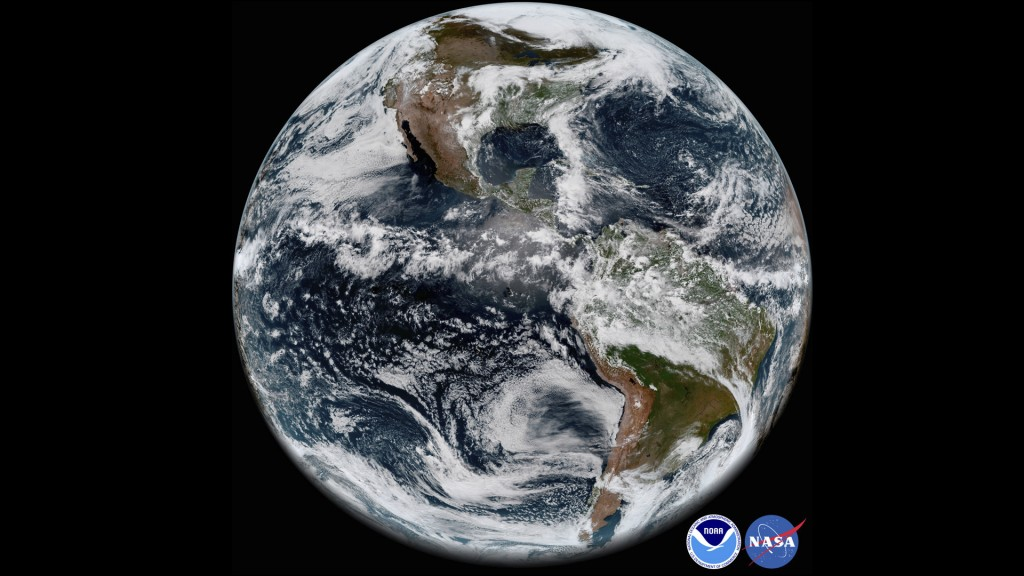 This image provided by NOAA/NASA on Thursday, May 31, 2018 shows the Earth's western hemisphere at 12:00 p.m. EDT on May 20, 2018 made by the new GOES...