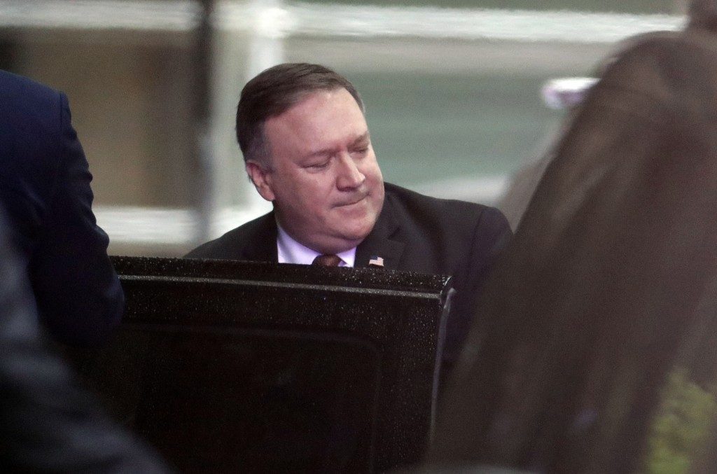 U.S. Secretary of State Mike Pompeo gets into a vehicle after meeting Kim Yong Chol, North Korea's former military intelligence chief and a close aid ...