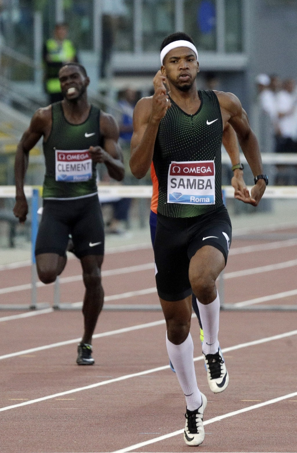 Qatar's Abderrahman Samba competes to win the men's 400m hurdles, during the Golden Gala, the first European meeting of the Diamond League, at the Rom...
