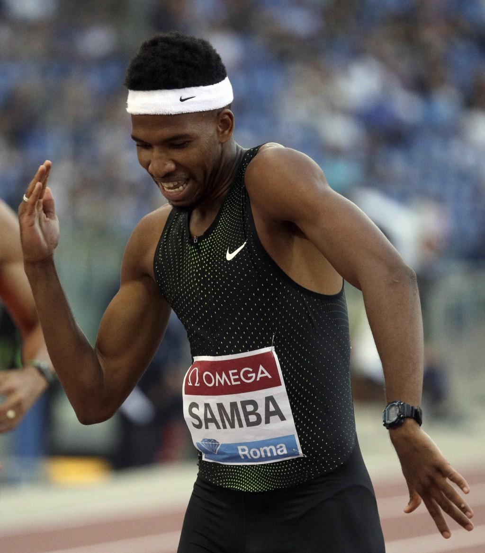 Qatar's Abderrahman Samba reacts after winning the men's 400m hurdles, during the Golden Gala, the first European meeting of the Diamond League, at th...