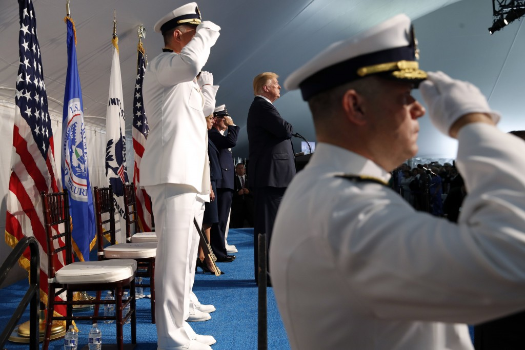 President Donald Trump Center Attends A Change Of Command Ceremony At The U S Coast