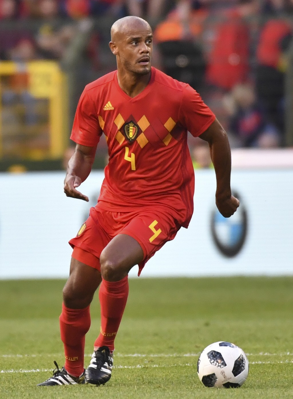 Belgium's Vincent Kompany kicks the ball during a friendly soccer match between Belgium and Portugal at the King Baudouin stadium in Brussels, Saturda...