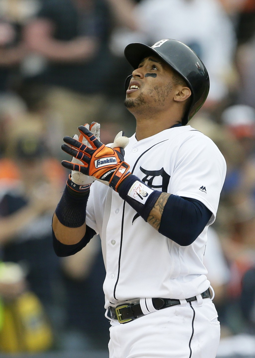 Detroit Tigers' Leonys Martin celebrates his solo home run during the sixth inning of a baseball game against the Toronto Blue Jays, Sunday, June 3, 2...