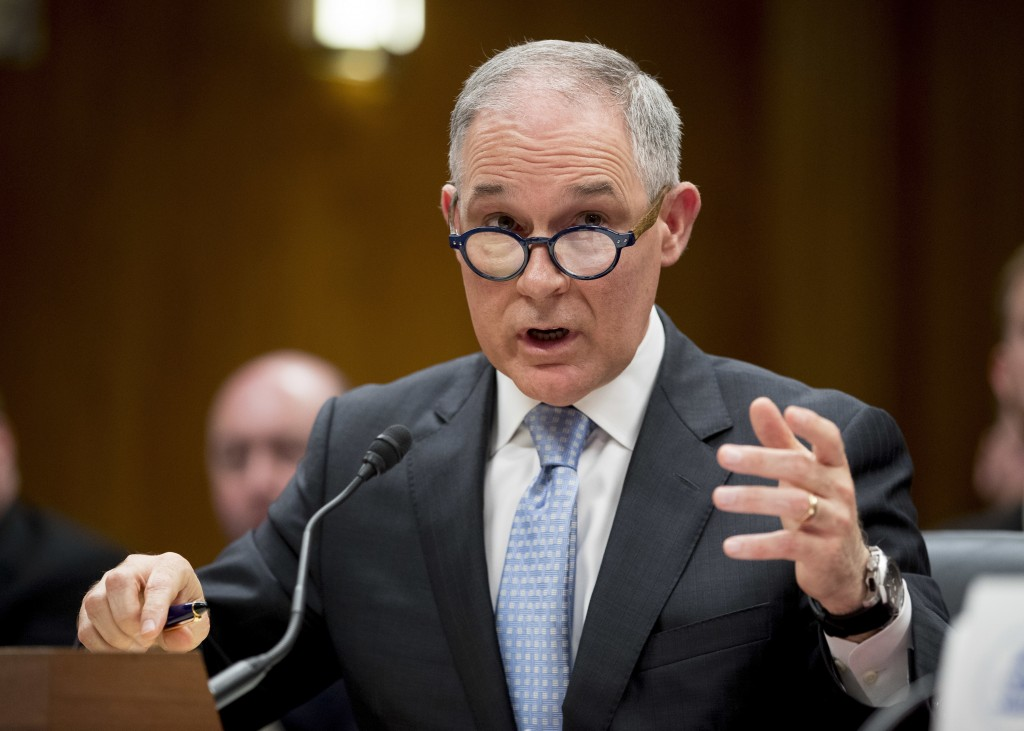 FILE - In this May 16, 2018, file phot, Environmental Protection Agency Administrator Scott Pruitt testifies before a Senate Appropriations subcommitt...