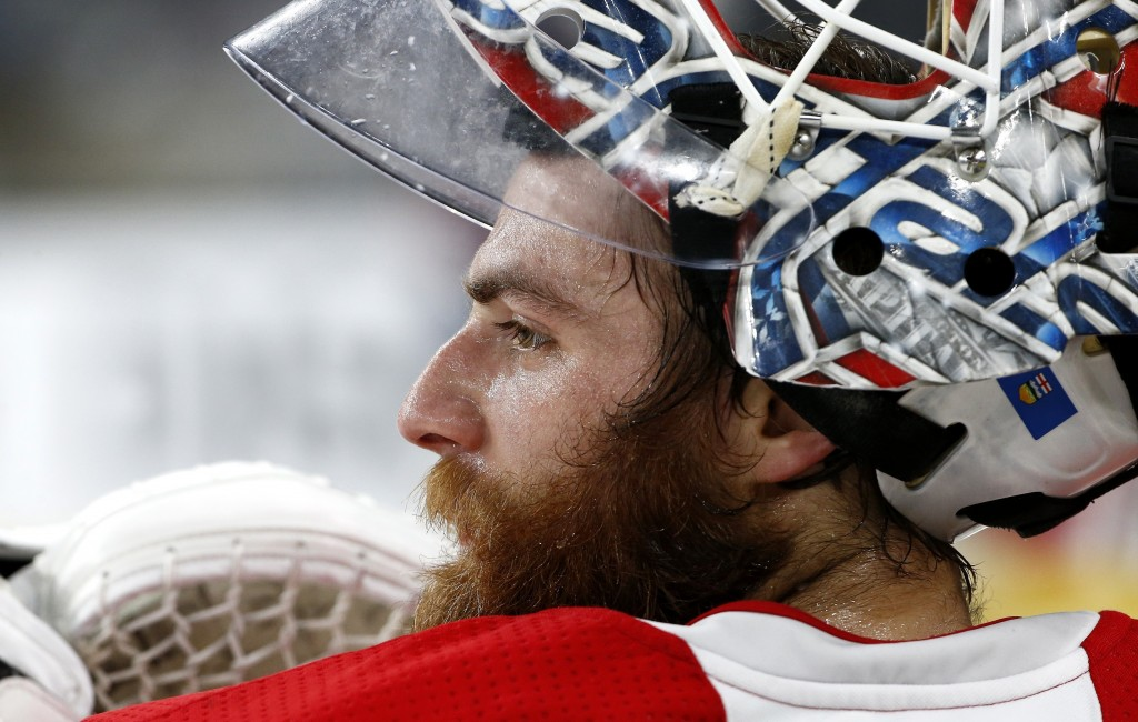 bf73e17fa Washington Capitals goaltender Braden Holtby pauses during an NHL hockey  practice Wednesday, June 6,
