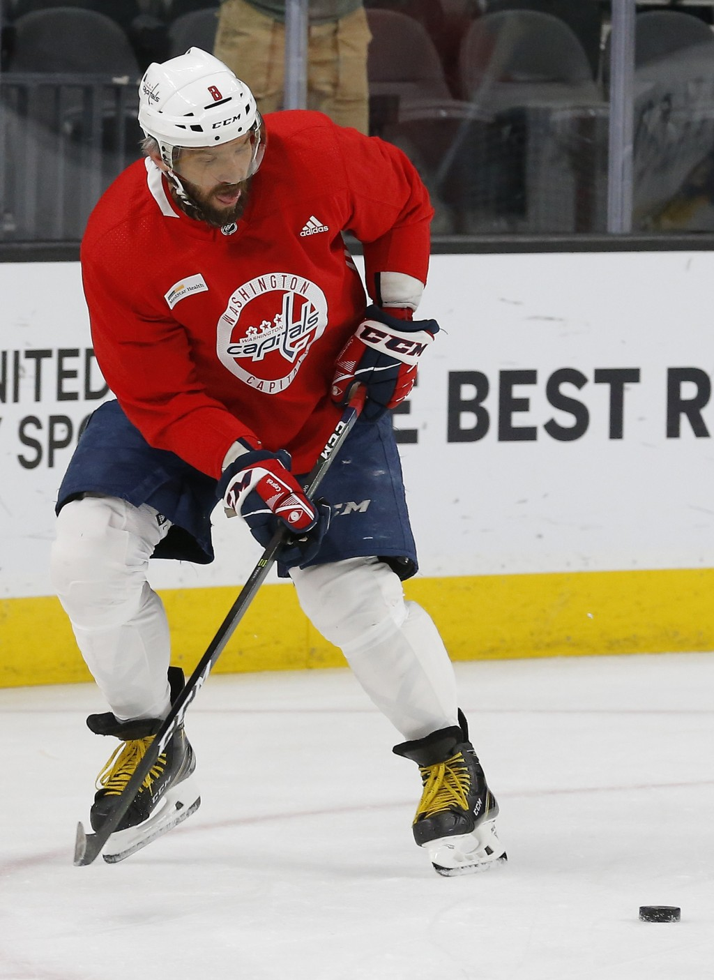 22e43517a Washington Capitals left wing Alex Ovechkin passes the puck during an NHL  hockey practice Wednesday,