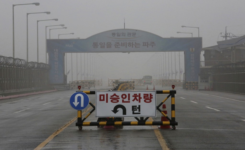 FILE - In this May 16, 2018 file photo, a barricade is placed near Unification Bridge, which leads to the demilitarized zone, near the border village ...