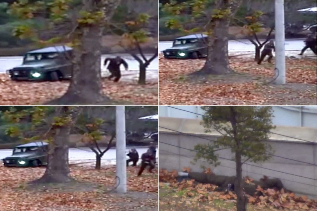 FILE - This combination of file images made from Nov. 13, 2017, surveillance video released by the United Nations Command shows a North Korean soldier...