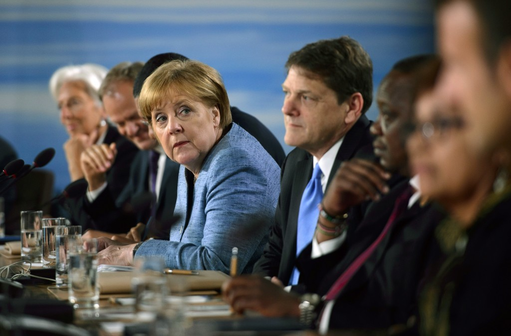 German Chancellor Angela Merkel participates in the G-7 Working Session with Outreach Countries and International Organizations at the G-7 Summit in L