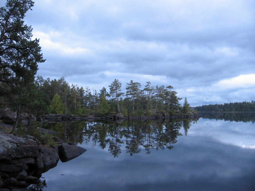 This Sept. 16, 2016 photo shows dusk falling as seen from a campsite on Lake One in Minnesota's Boundary Waters Canoe Area Wilderness. The area's off-...