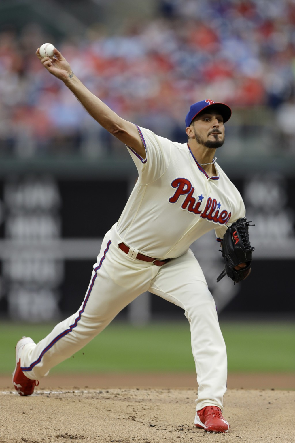 Philadelphia Phillies' Zach Eflin pitches during the first inning of a baseball game against the Milwaukee Brewers, Sunday, June 10, 2018, in Philadel...