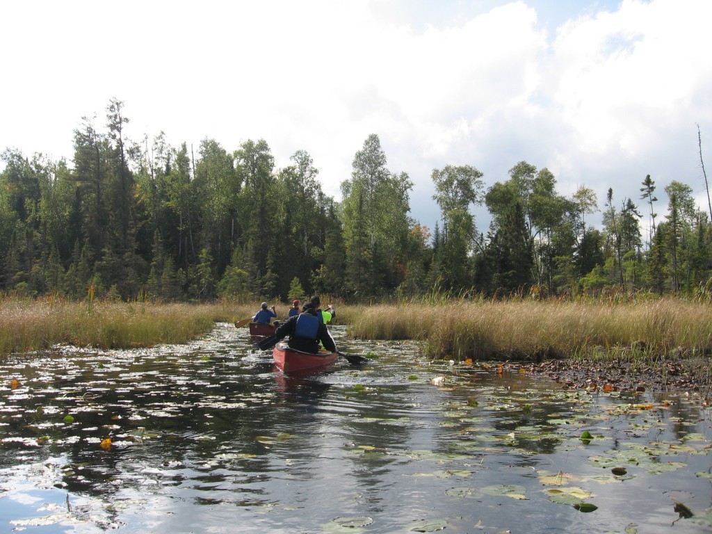 This Sept. 16, 2017 photo shows two canoes along a lily pad-lined bog in Minnesota's Boundary Waters Canoe Area Wilderness. The area protects more tha...