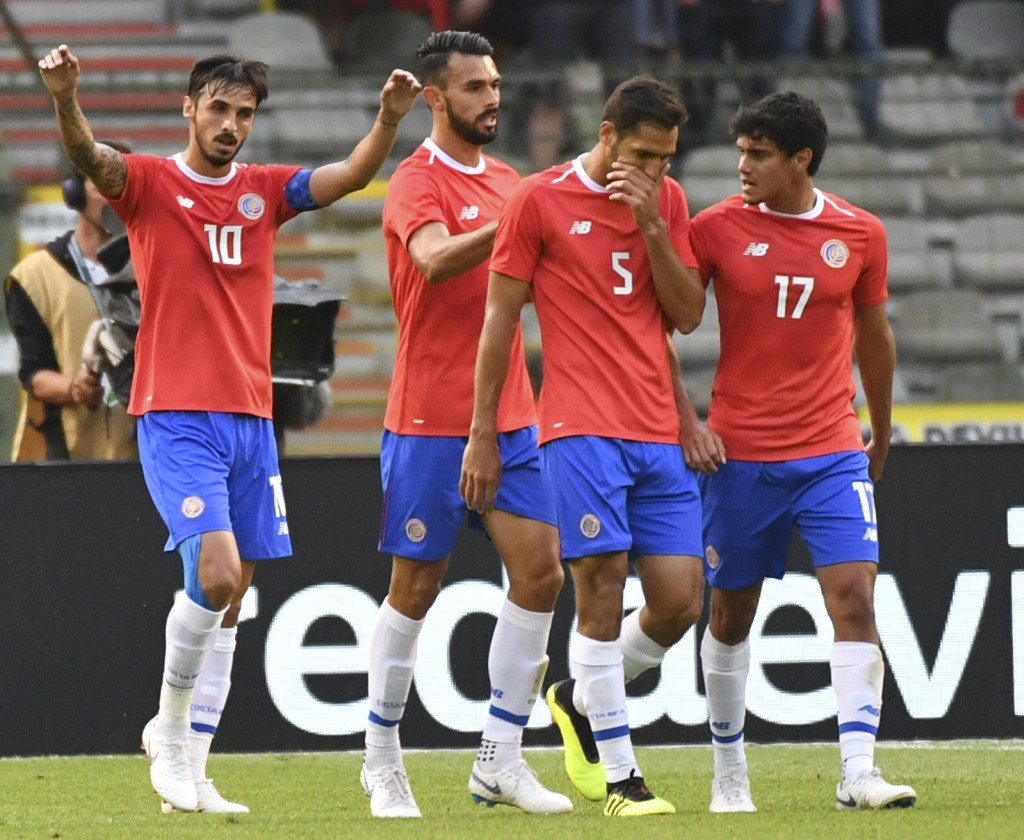 Costa Rica's Bryan Ruiz, left, jubilates with teammate Costa Rica's Bryan Oviedo after scoring his sides first goal during a friendly soccer match bet