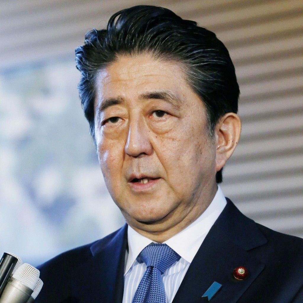 Japanese Prime Minister Shinzo Abe speaks to the media regarding the summit between U.S. President Donald Trump and North Korean leader Kim Jong Un, a...
