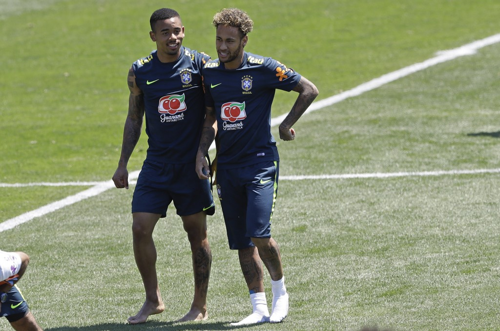 Brazil's Neymar, right, and Gabriel Jesus attend a training session in Sochi, Russia, Tuesday, June 12, 2018. Brazil will face Switzerland on June 17