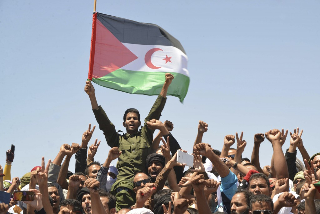 FILE - In this Friday, June 3, 2016 file photo, members of the Polisario Front, the organization disputing sovereignty over Western Sahara with Morocc...