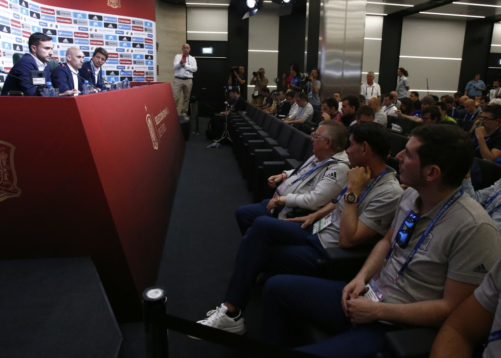 Spanish football president Luis Rubiales, second left, adresses the media during a press conference as Sports director of the Spanish Football Federat