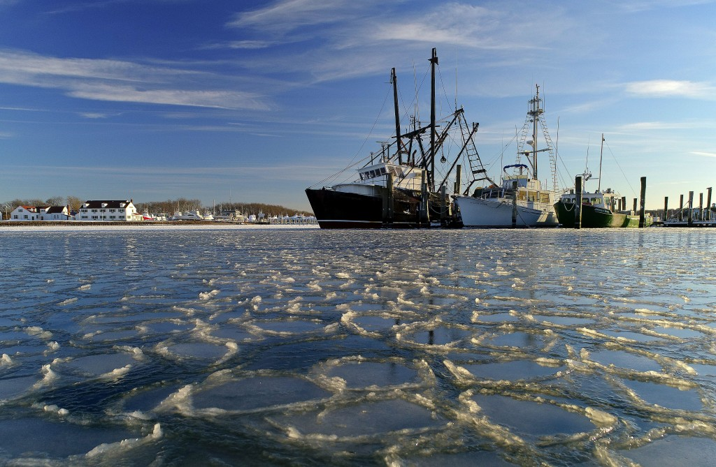 Surrounded by ice, commercial fishing boats are docked in their slips after more than a week's worth of frigid weather froze the harbor in Lake Montau