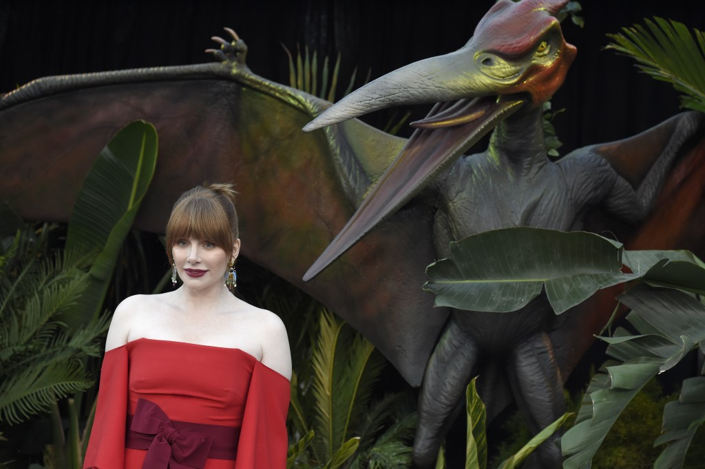 """Bryce Dallas Howard arrives at the Los Angeles premiere of """"Jurassic World: Fallen Kingdom"""" at the Walt Disney Concert Hall on Tuesday, June 12, 2018."""