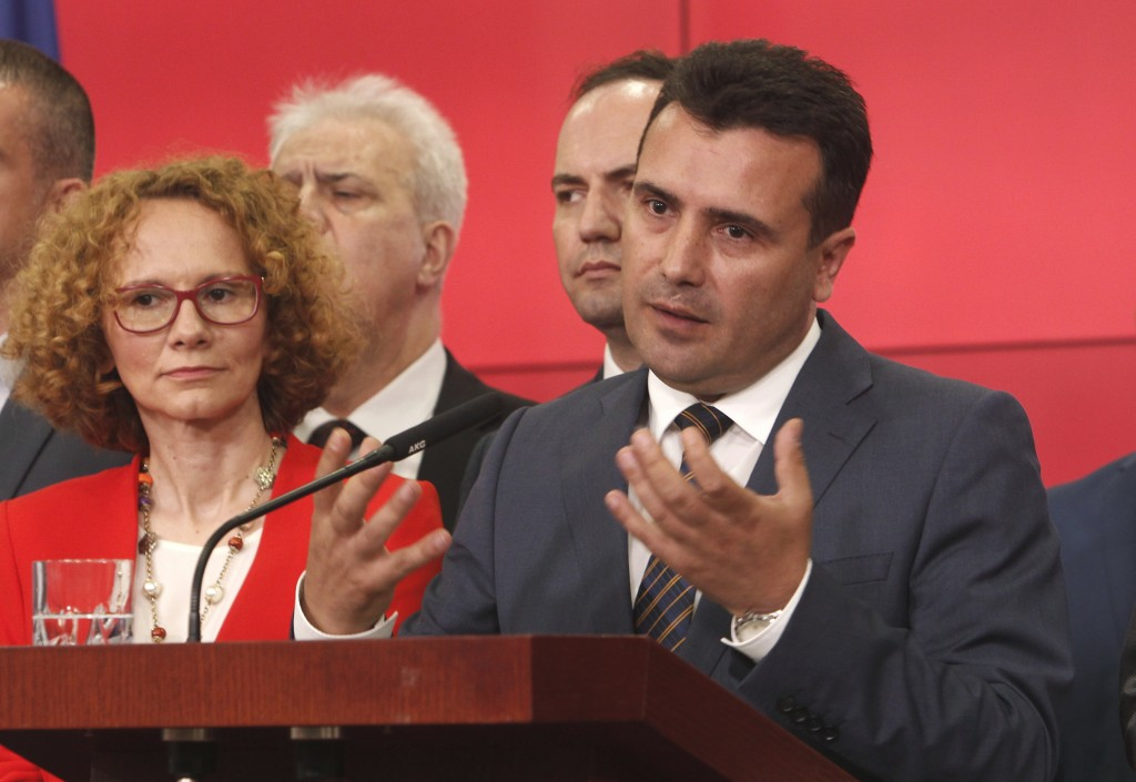 CORRECTS TO NORTH MACEDONIA, NOT NORTHERN - Macedonian Prime Minister Zoran Zeav addresses the media during a news conference in the Government buildi