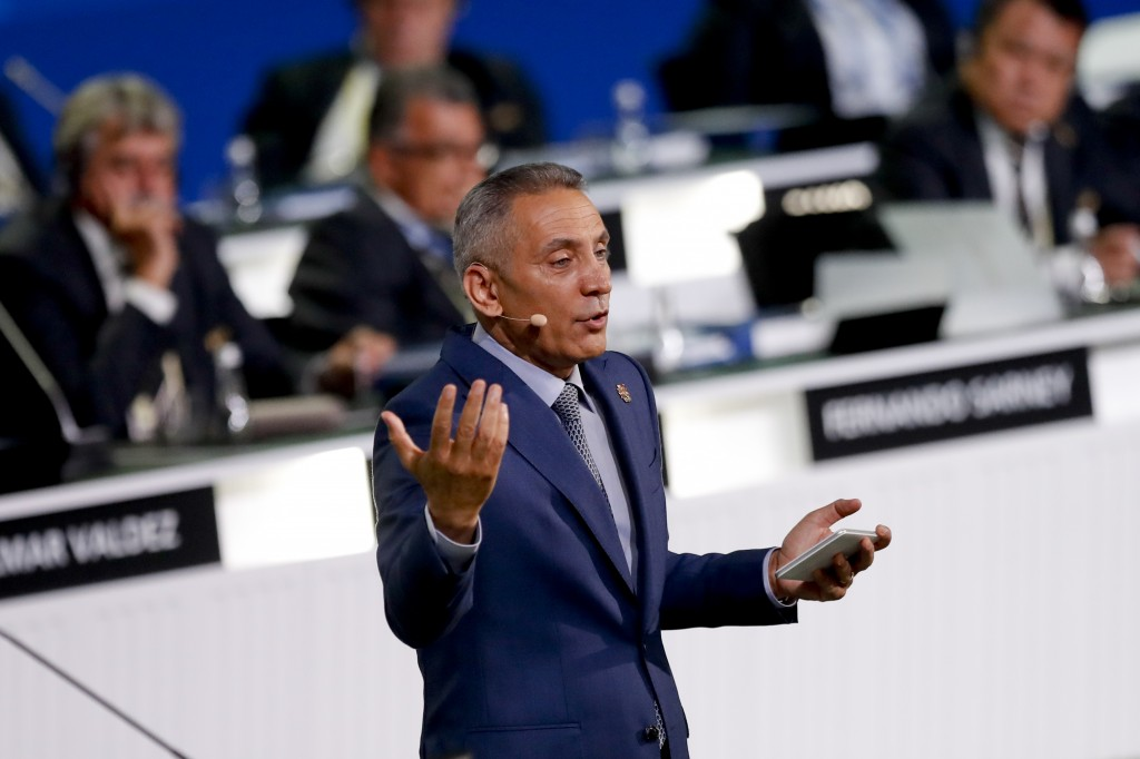 Head of Morocco's Bid Committee Moulay Hafid Elalamy presents his country's bid to host the 2026 World Cup at the FIFA congress in Moscow, Russia, Wed