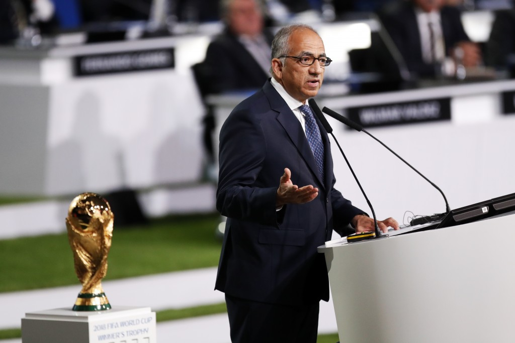 President of U.S. Soccer Carlos Cordeiro presents a joint United bid by Canada, Mexico and the United States to host the 2026 World Cup at the FIFA co