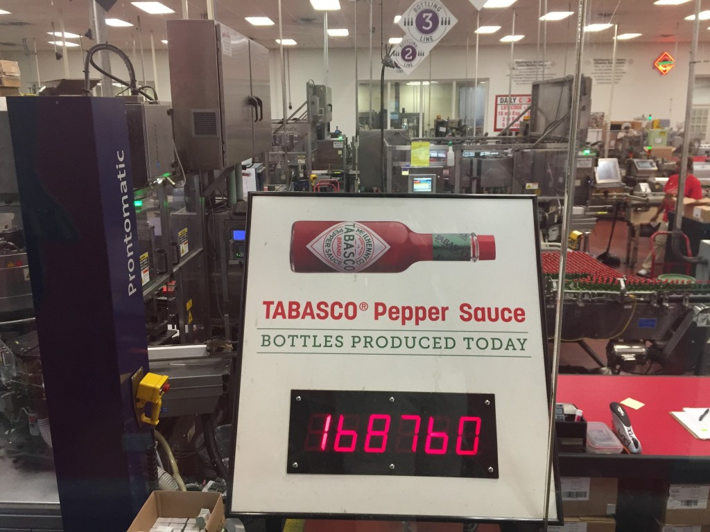 This June 4, 2018 photo shows a display that counts how many bottles of Tabasco sauce were produced at the Tabasco factory on Avery Island on that day