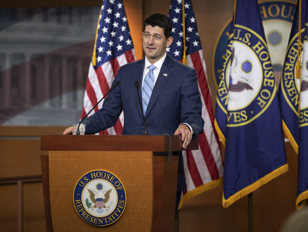 FILE - In this June 7, 2018, photo, Speaker of the House Paul Ryan, R-Wis., takes questions from reporters following a closed-door GOP meeting on immi