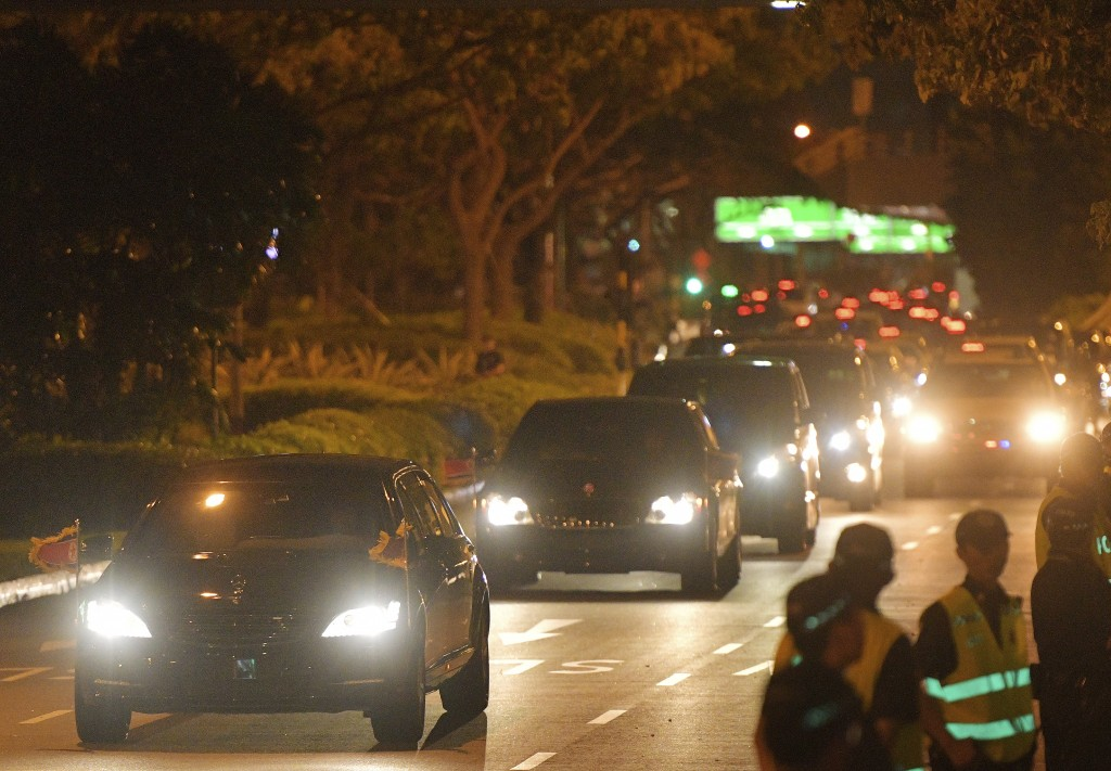 The limousine of North Korean Leader Kim Jong Un is seen on the road at Singapore's Changi Airport on Tuesday, June 12, 2018, after today's summit bet