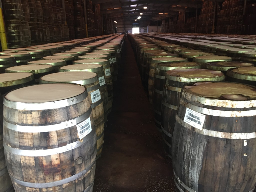 This June 4, 2018 photo shows barrels used in blending and aging Tabasco at the factory where the famous pepper sauce is made on Avery Island in Louis