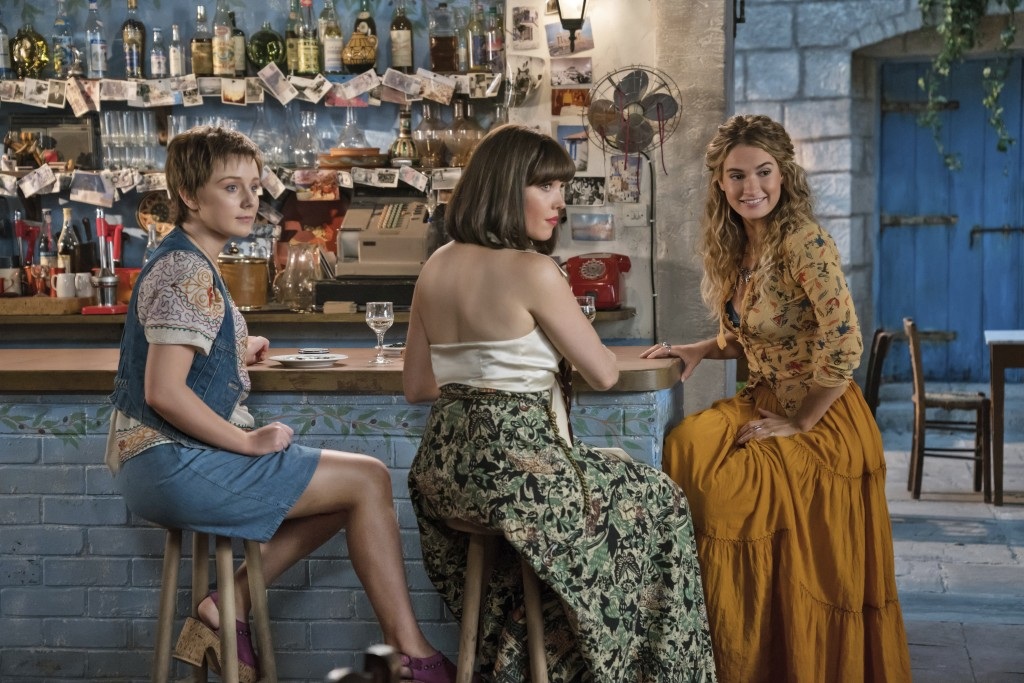 "This image released by Universal Pictures shows Alexa Davies, from left, Jessica Keenan Wynn and Lily James in a scene from ""Mamma Mia! Here We Go Aga"
