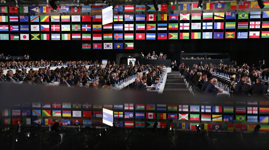 Delegates attend the FIFA congress on the eve of the opener of the 2018 soccer World Cup in Moscow, Russia, Wednesday, June 13, 2018. The congress in