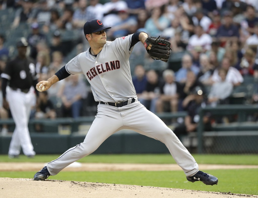 Cleveland Indians starting pitcher Adam Plutko delivers during the first inning of the teams baseball game against the Chicago White Sox on Tuesday, J