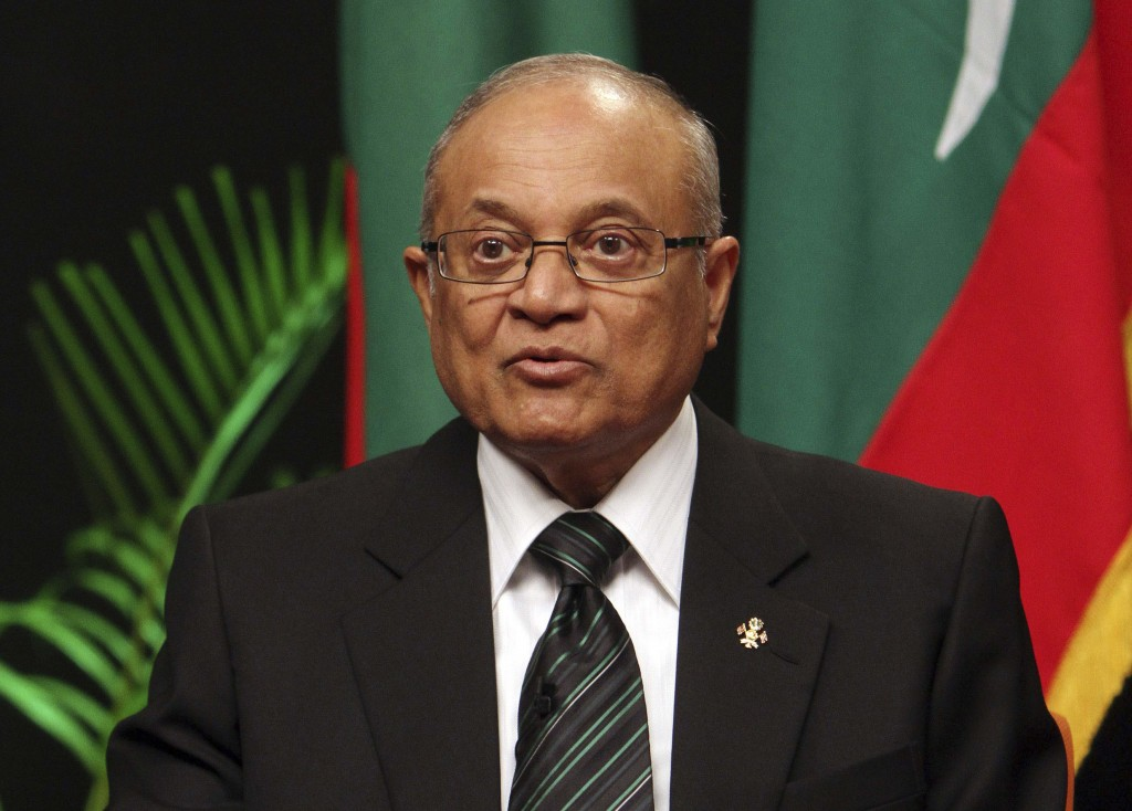 FILE - In this Monday, Sept. 5, 2011, file photo, Maldives former President Maumoon Abdul Gayoom addresses a press conference to announce the formatio