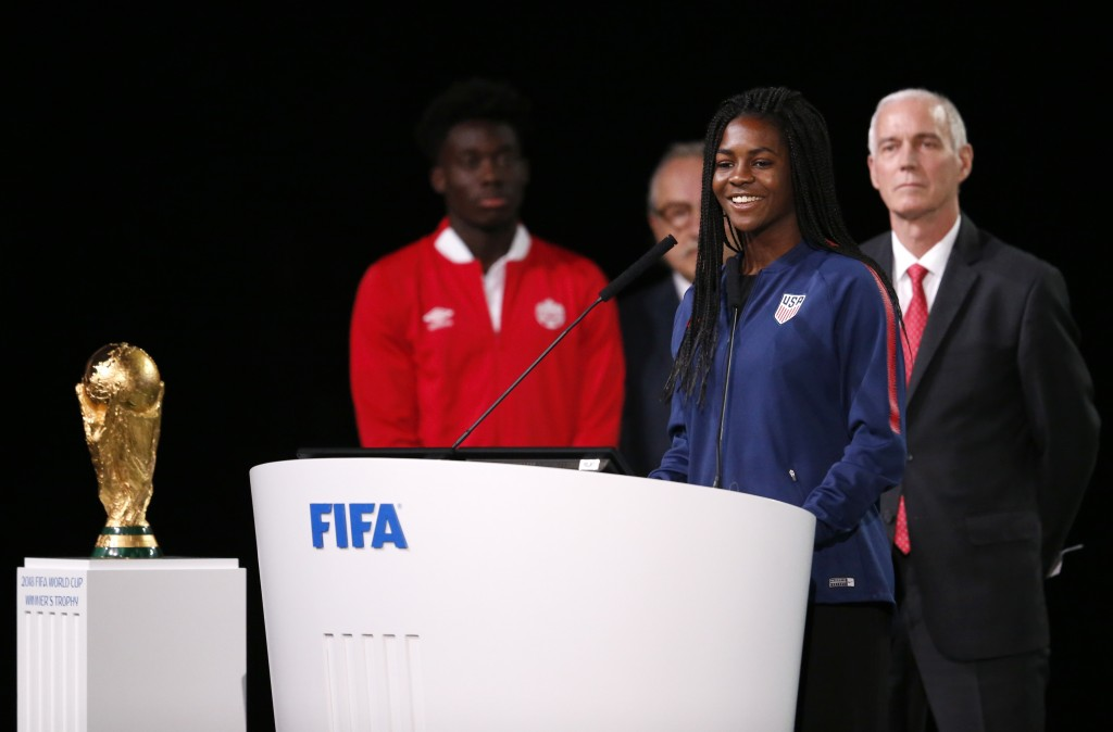 American soccer player Brianna Pinto speaks at the FIFA congress on the eve of the opener of the 2018 soccer World Cup in Moscow, Russia, Wednesday, J