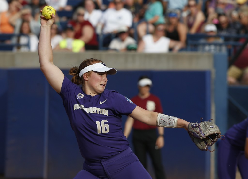 Washington starting pitcher Gabbie Plain (16) pitches in the third inning of the first game of the best-of-three championship series against Florida S