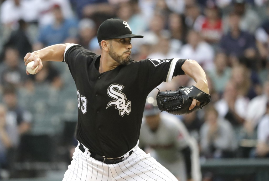 Chicago White Sox starting pitcher James Shields delivers during the first inning of the team's baseball game against the Cleveland Indians on Tuesday
