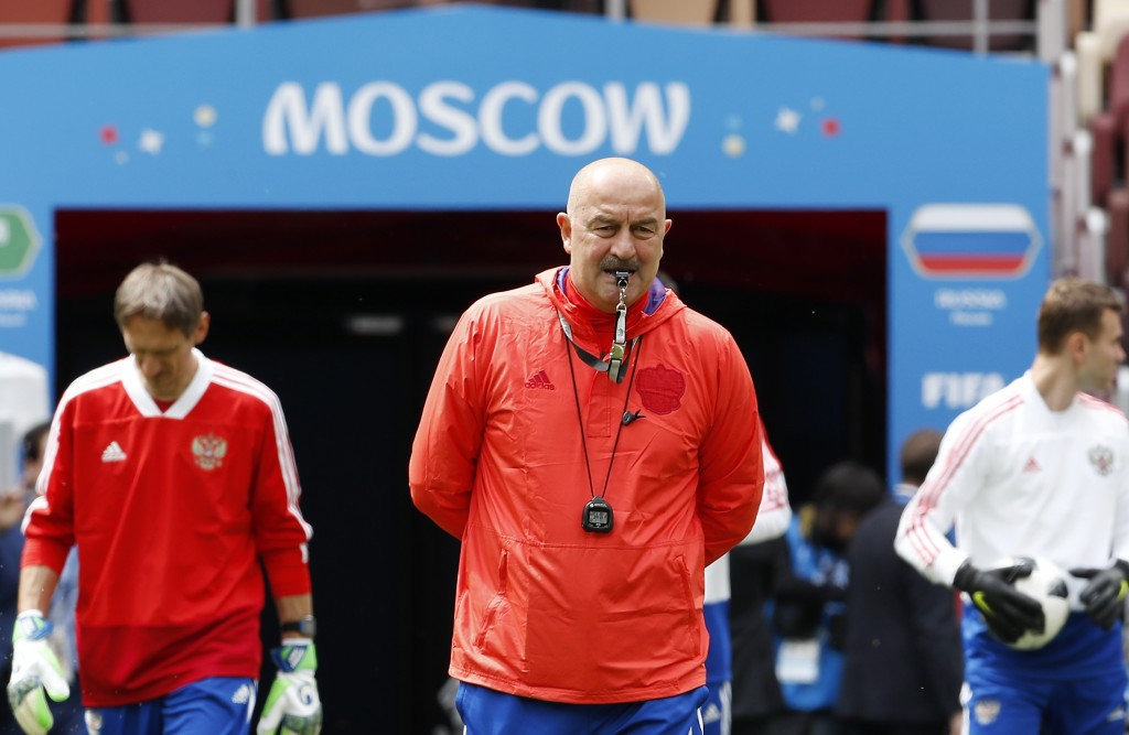 Russia coach Stanislav Cherchesov arrives at the official training session of the Russian team one the eve of the group A match between Russia and Sau