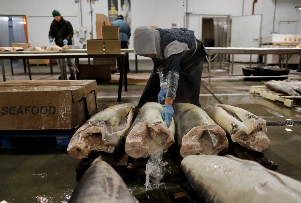 A fishmonger rinses swordfish carcasses just pulled from their shipping containers at the New Fulton Fish Market in New York on Monday, Jan. 8, 2018.