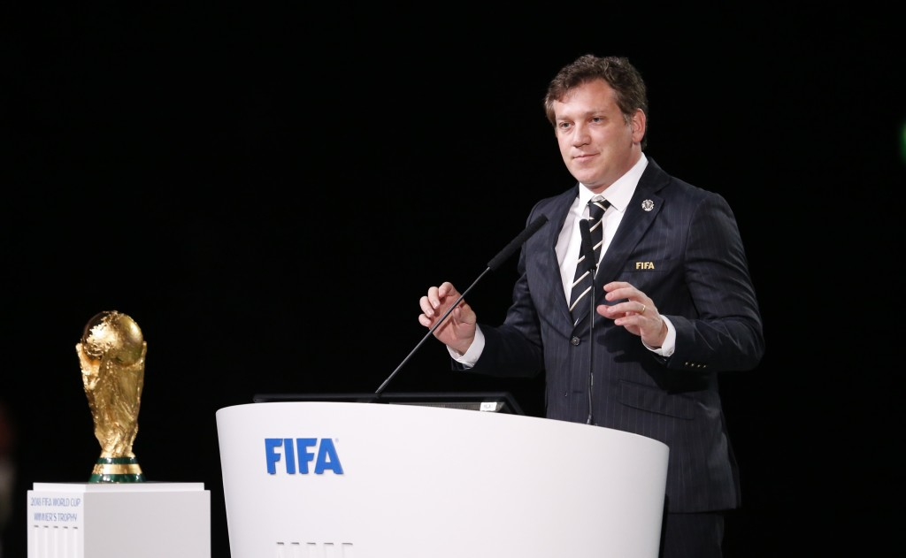 CONMEBOL President Alejandro Dominguez speaks at the FIFA congress on the eve of the opener of the 2018 soccer World Cup in Moscow, Russia, Wednesday,